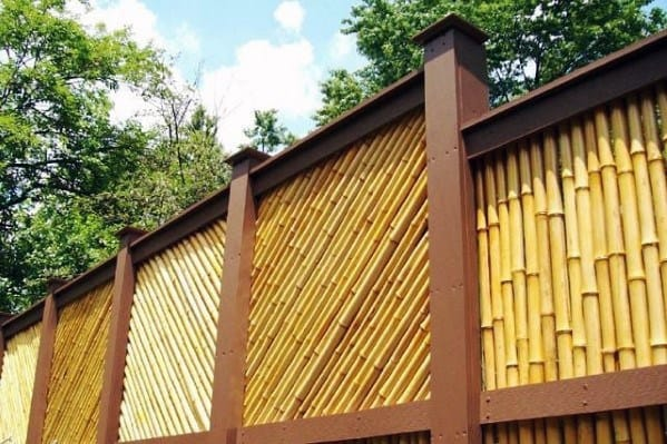 Angled Backyard Ideas For Bamboo Fence
