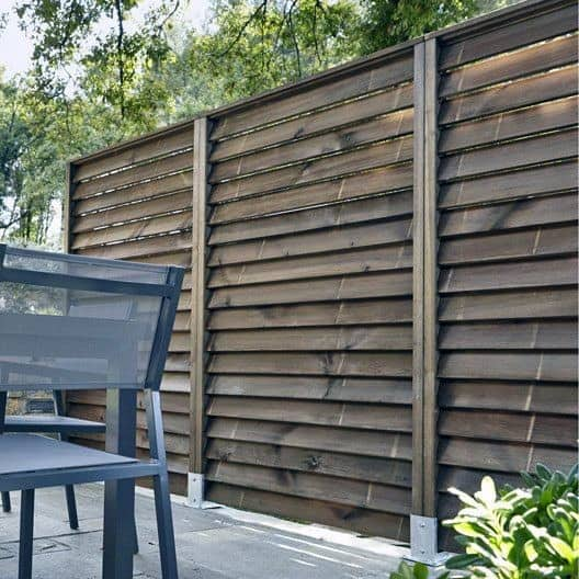 Angled Wood Boards Privacy Fence