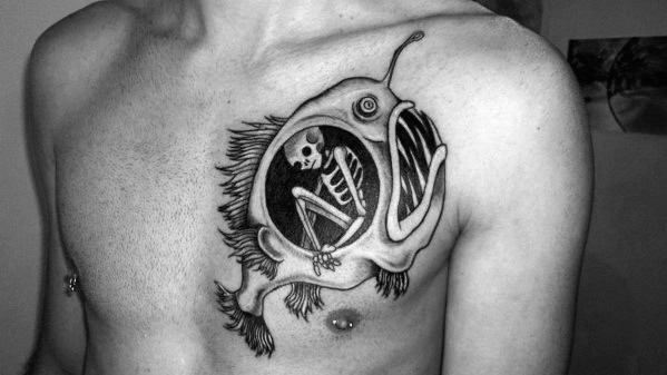 Angler Fish Tattoo Upper Chest Ideas For Gentlemen