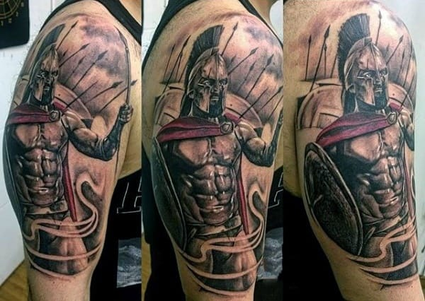 Angry Spartan Tattoo Mens Upper Arms