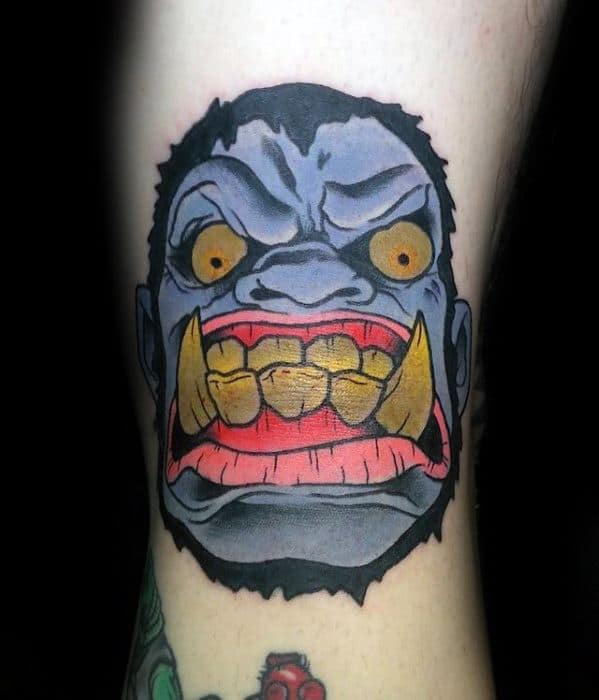 Angry Blue Gorilla Head Ditch Tattoos Men