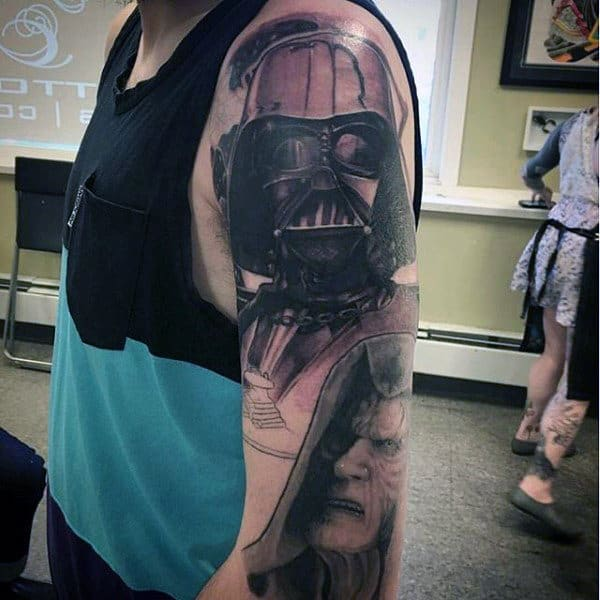 Angry Darth Vader Tattoo Male Arms