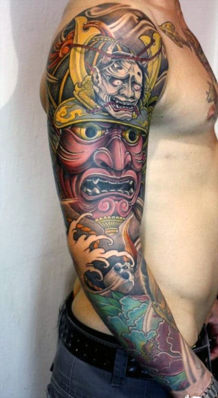 Angry Faces Japanese Sleeve Tattoo Men