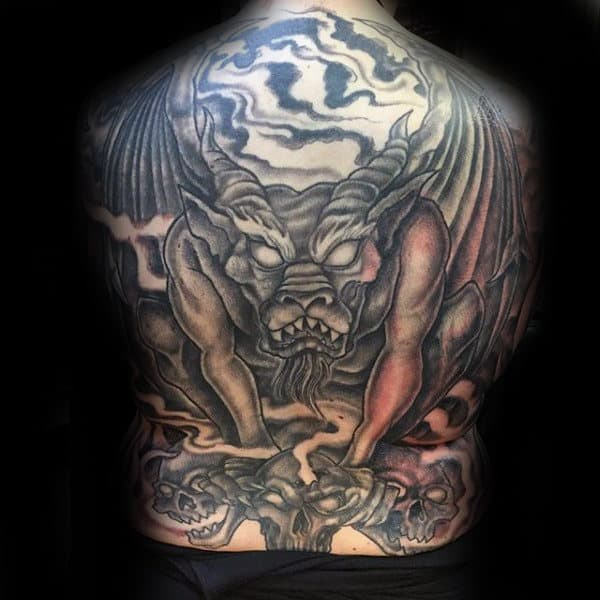Angry Gargoyle Male Full Back Tattoos