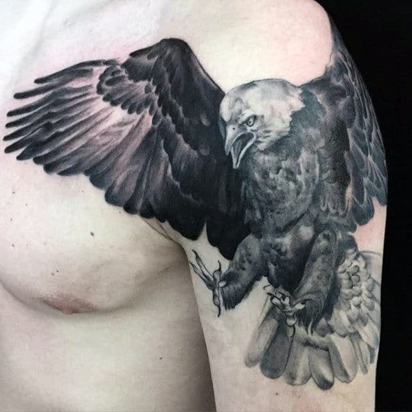Angry Grey Realistic Bald Eagle Tattoo Mens Arms