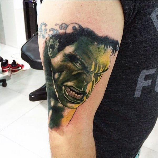 Angry Hulk Face Tattoo Male Arms
