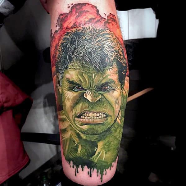 Angry Incredible Hulk Male Marvel Leg Tattoo