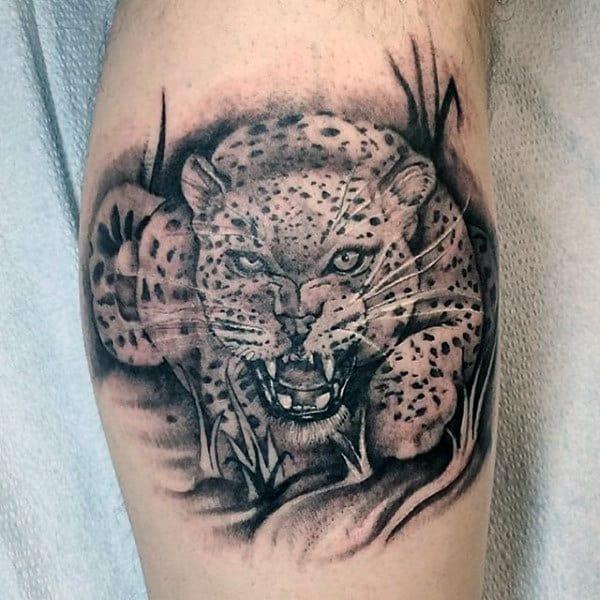 Angry Leopard Guy Leg Calf Tattoo Designs