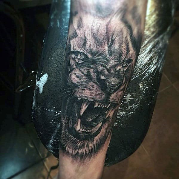 Angry Lion Guys Forearm Sleeve Tattoo With Realistic Design