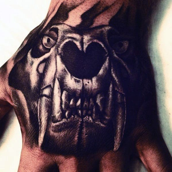 Angry Lion Skull Mens White And Black Ink Hand Tattoos