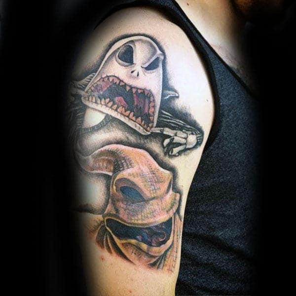 Angry Oogie Boogie Mens Night Before Christmas Upper Arm Tattoos