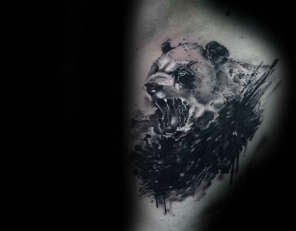 Angry Panda Mens Upper Chest Watercolor Tattoos