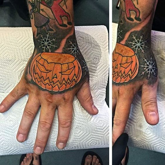 Angry Pumpking Night Before Christmas Mens Hand Tattoos