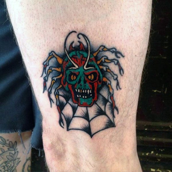 Angry Skull With Spider And Web Male Traditional Leg Tattoos