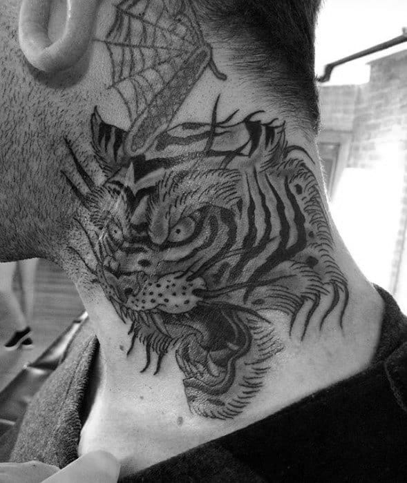 Angry Tiger Mens Neck Traditional Tattoo Inspiration