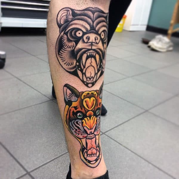 Angry Traditional Bear Male Shin Tattoo Design