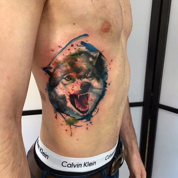 Angry Wolf Artsy Watercolor Rib Cage Side Tattoos For Men