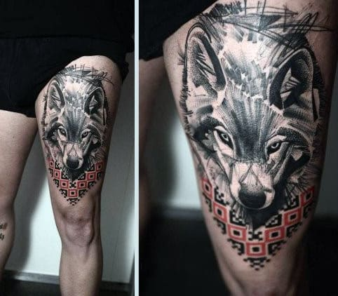 Angry Wolf Tattoo On Man