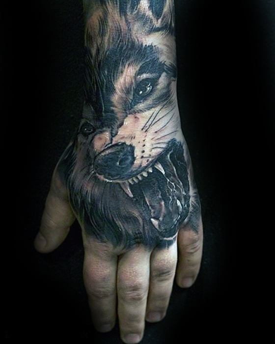 Angry Wolf Unique Hand Male Tattoos