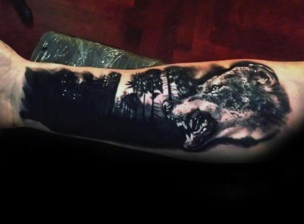 Angry Wolf With Black Ink Forest Guys Forearm Tattoo