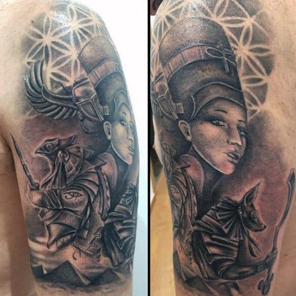 Anicent Egyptian Male Pyramid Half Sleeve Tattoo
