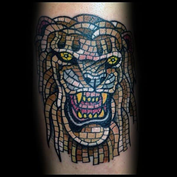 Animal Arm Mens Tattoo With Mosaic Design