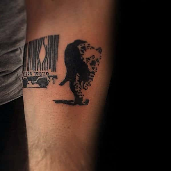 Animal Breaking Out Of Barcode Cage Guys Banksy Forearm Tattoo