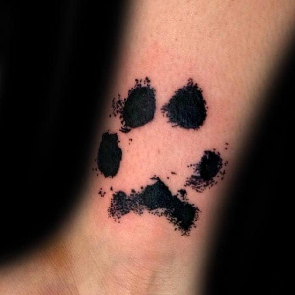 Animal Dog Paw Print Mens Wrist Tattoos