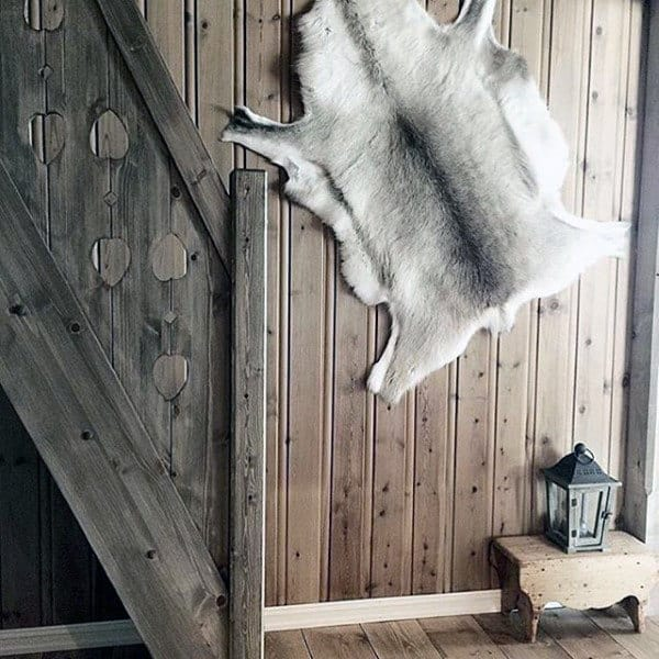 Animal Fur Man Cave Decor On Wall