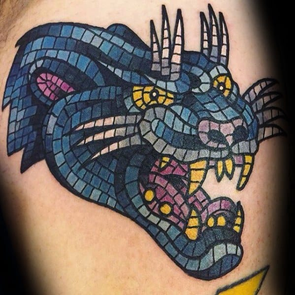 Animal Head Upper Arm Mosaic Guys Tattoo Ideas