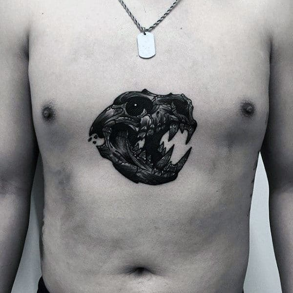 Animal Skull Guys Wolf Chest Tattoos
