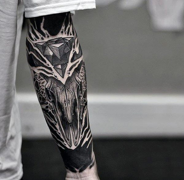Animal Skull With Blackwork Background Guys Unique Forearm Tattoo
