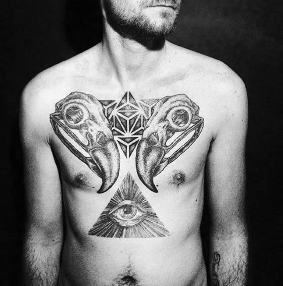Animal Skulls With Eye Of Providence Mens Chest Tattoo