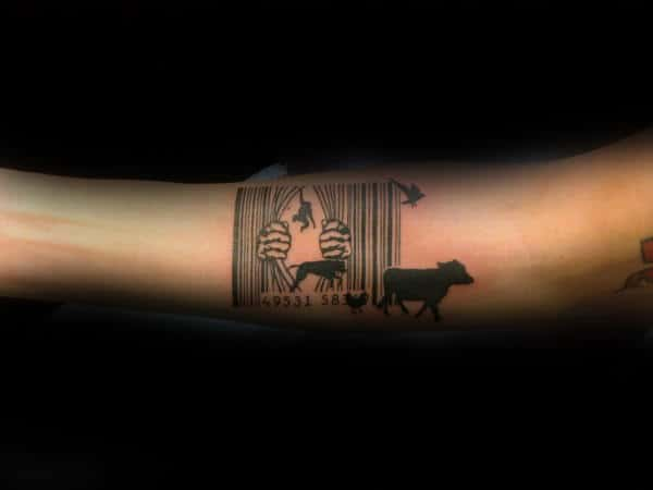 Animals Escaping Zoo Barcode Mens Creative Forearm Tattoo