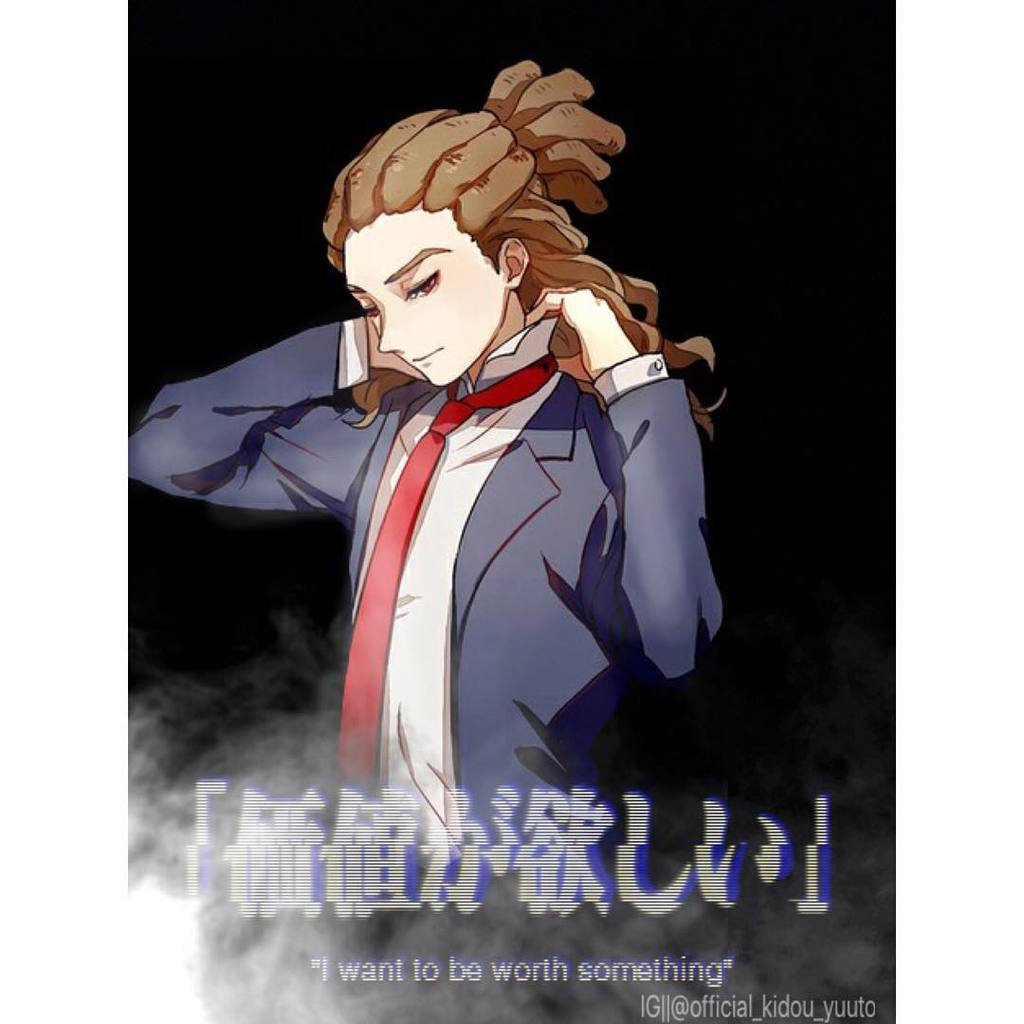 An anime character wearing long and thick dreadlocks