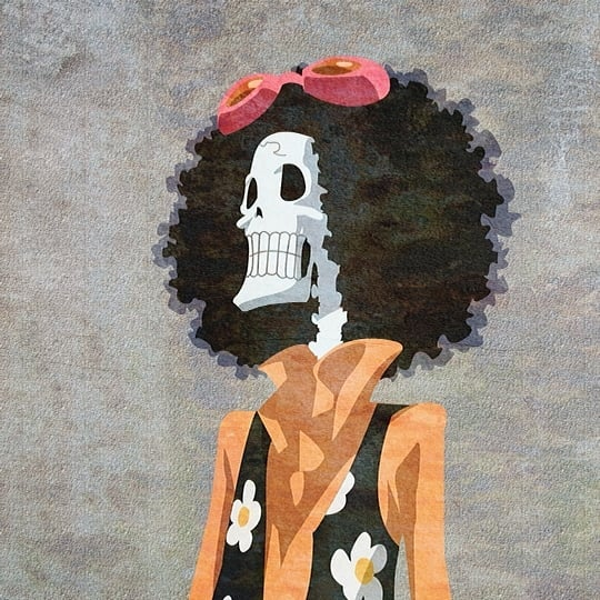 An anime character wearing an afro hairstyle. It features huge hair with great volume