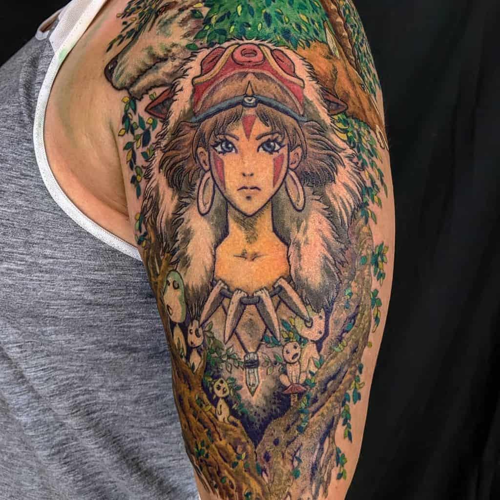 anime-color-arm-princess-mononoke-tattoo-mccartytattoo