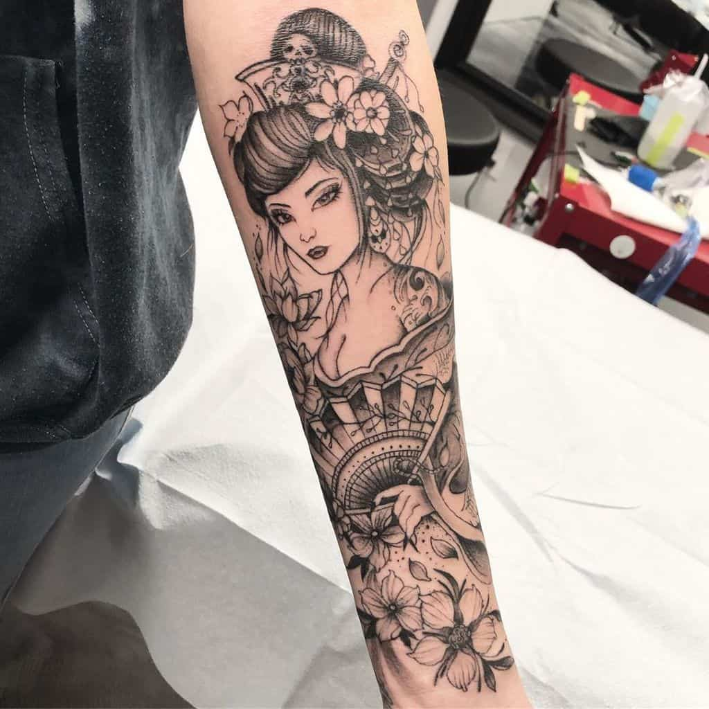 Anime Lady Face Small Flower Japanese Geisha Tattoo