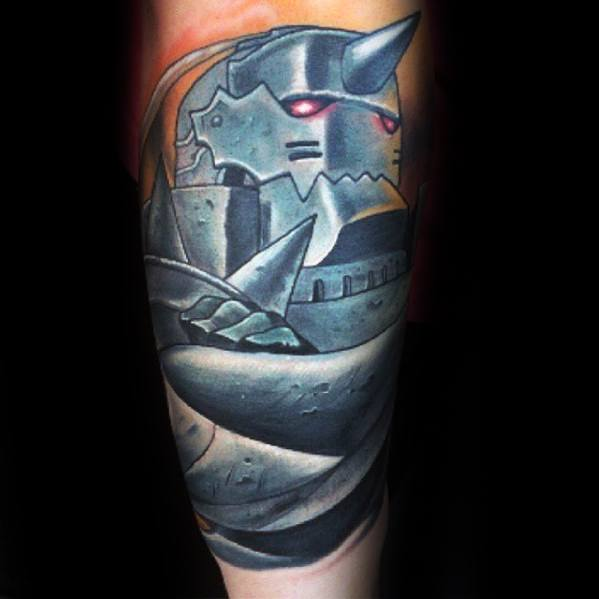 Anime Male Tattoos On Outer Forearm