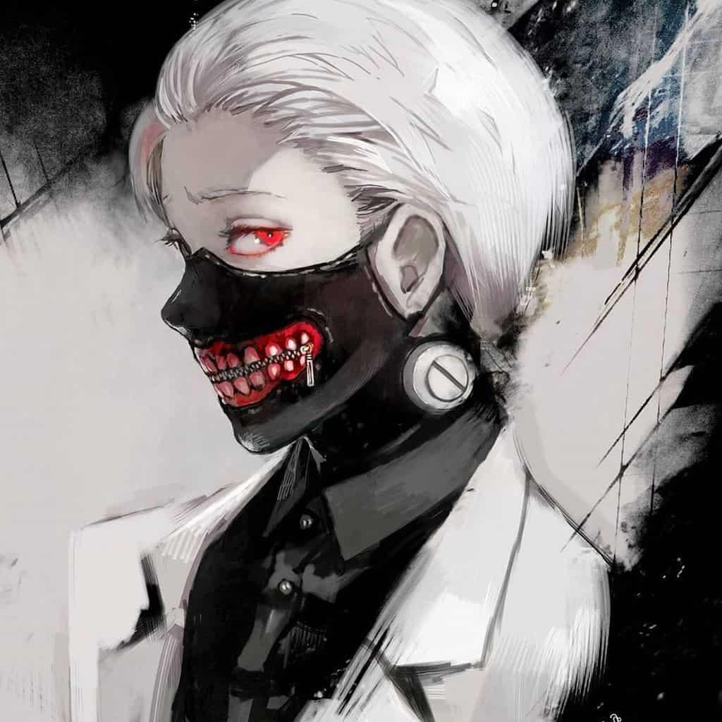 Keneki wearing silver-white manes