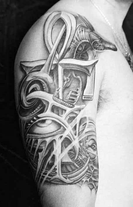 Ankh Guys Upper Arm Egyptian Half Sleeve Tattoo