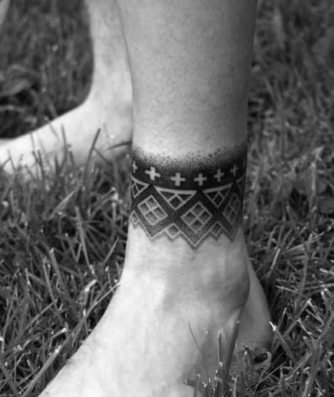 Ankle Band Dotwork Geometric Tattoo Design Ideas For Males