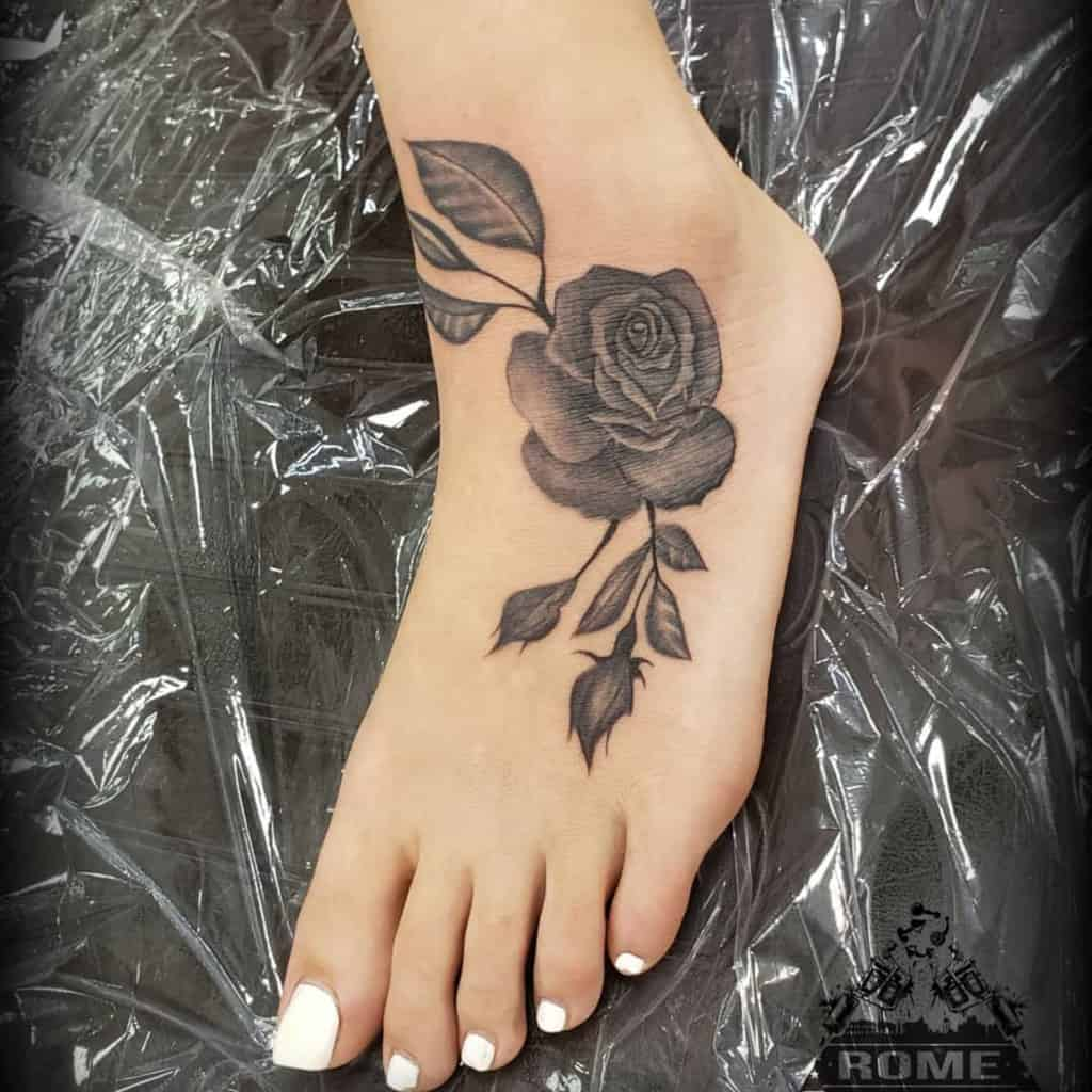 ankle black and grey rose tattoos chris_allen_tattoo