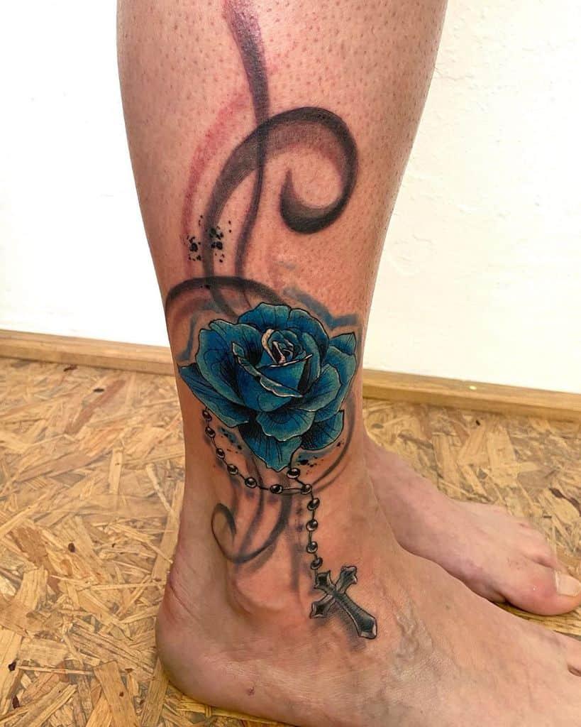 ankle blue rose tattoos tattoolookass