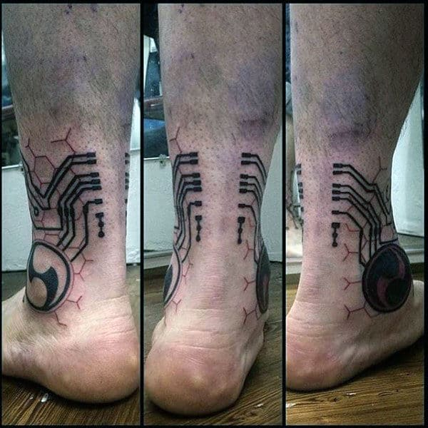 Ankle Circuit Board Guys Tattoos