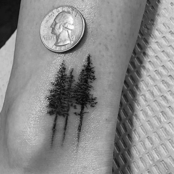Ankle Forest Of Trees Quarter Sized Tattoos Men