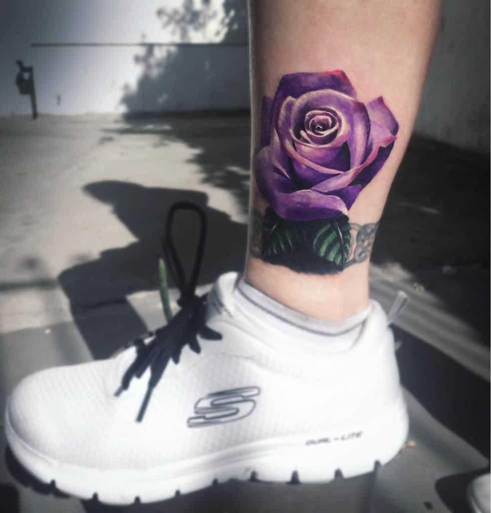 ankle purple rose tattoos skeryone_official