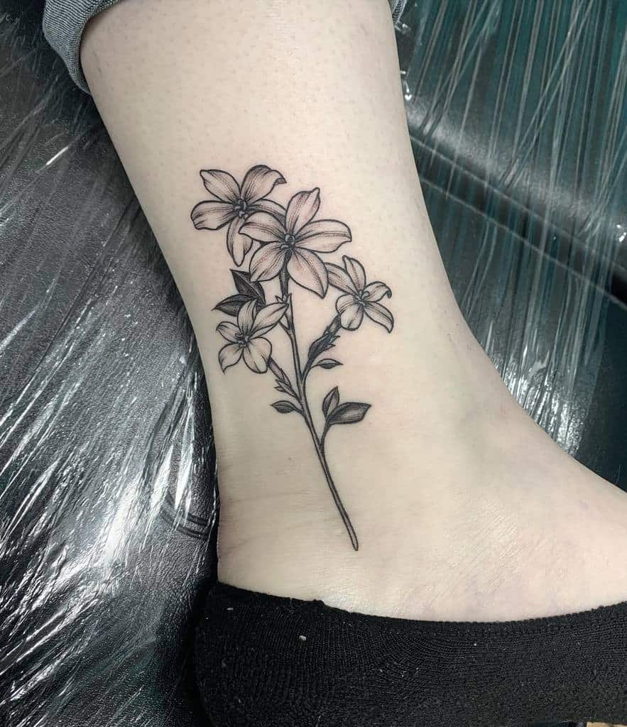 ankle simple flower tattoos inkbykg