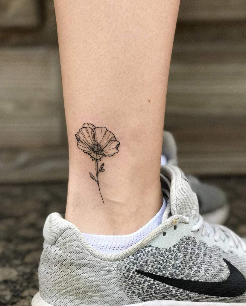 ankle simple flower tattoos vellaalexia