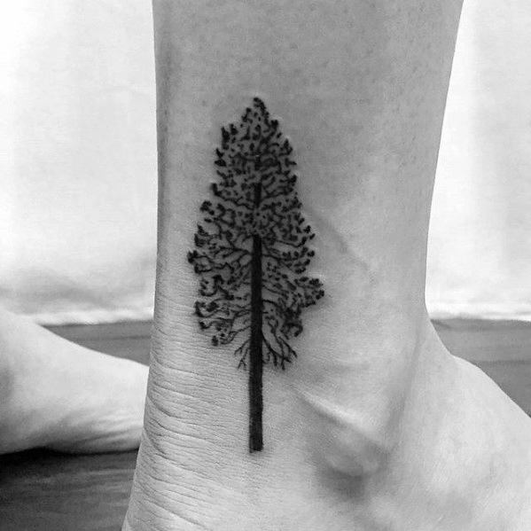 Ankle Simple Tree Tattoo Ideas For Guys